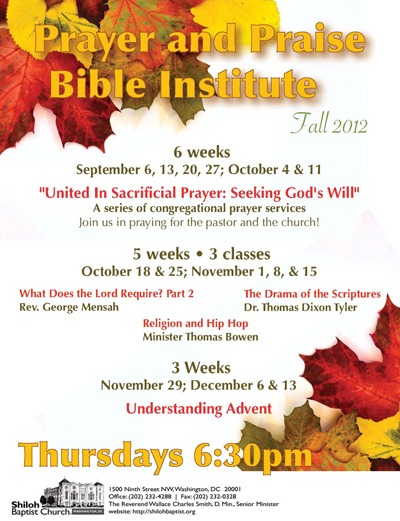 Fall 2012 Prayer & Praise and Bible Institute